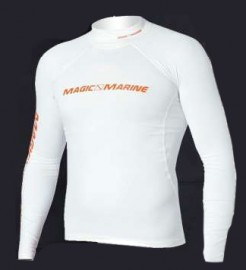 Magic Marine Cube Rash Vest Long Sleeve White